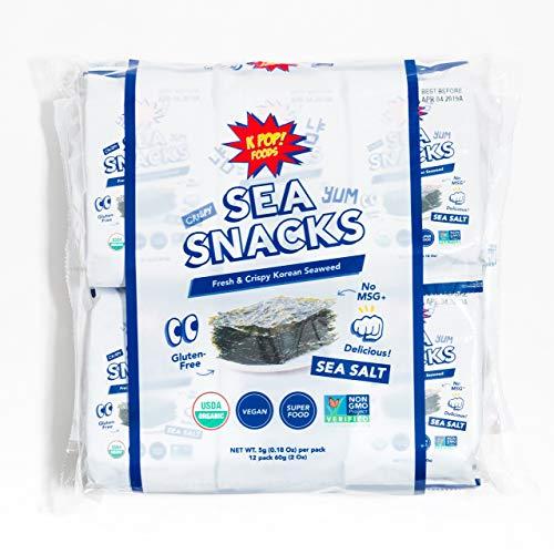 KPOP Sea Snacks - Premium Seaweed Snacks, 5 grams (Pack of 12) Lightly Salted Roasted Seaweed - Keto Friendly Korean...
