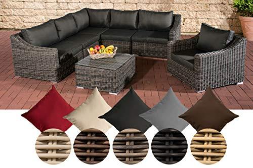 CLP Juego de sillones de jardín del mar, grey-mottled, hecho de 5mm de grosor de ratán, con marco de aluminio, 5plazas sofá + sillón + mesa + 10cm de espesor de asiento almohadillas + cojines