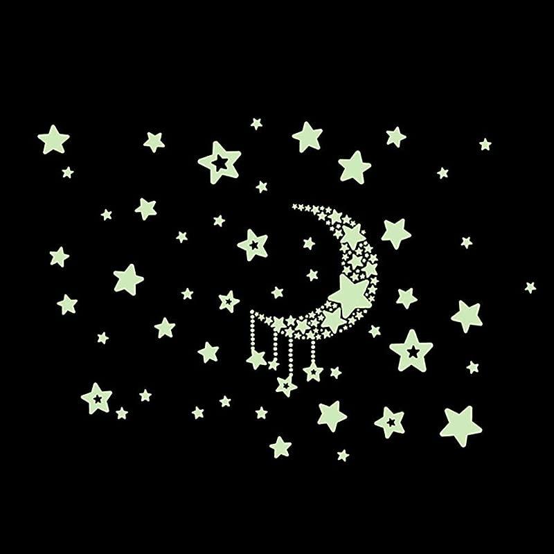 Luminous Moon Stars Wall Decals Glow In The Dark Nursery Room Wall Sticker Decoration