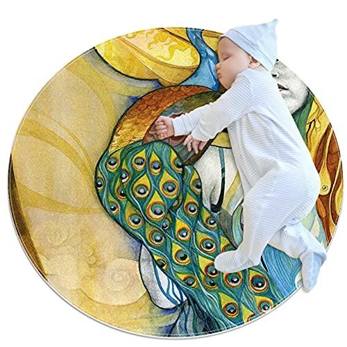 Mjuk rund matta 100 x 100 cm/39,4 x 39,4 tum halkskydd golv cirkelmattor absorberande minnessvamp stående matta, påfågeln