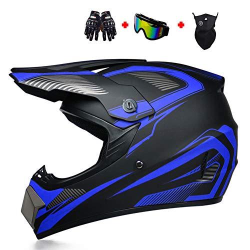 ATV Helmet, DOT Approved Off Road Dirt Bike Helmet Motocross Helmet with Goggles Neck Gaiter Gloves Motorcycle Helmet MX MTB BMX Downhill Helmet for Men Women Adult,Blue,XL
