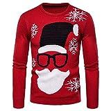 FDJIAJU Suéter De Mujer,Tejido De Punto,Novedad Ugly Christmas Sweater Hombres Y Mujeres Casual O-Cuello Jerseys Hombres Moda Cálido Slim Fit Unisex Suéteres Impresos Red Jumper Tops, Rojo, XL