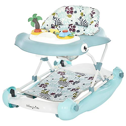 Dream On Me 2-in-1 Aloha Fun Activity Baby Walker and Rocker, Blue