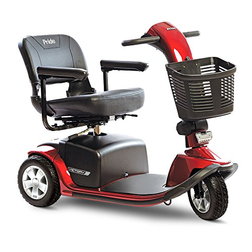 Affordable Pride Victory 10 3 wheel Mobility Scooter - Red with 40AH batteries