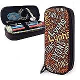 Lyons American Apellido Gran capacidad Funda de lápiz de cuero Estuche para lápices Bolsa de almacenamiento grande Organizador de caja Bolígrafo de maquillaje de oficina Bolsa de cosméticos portátil