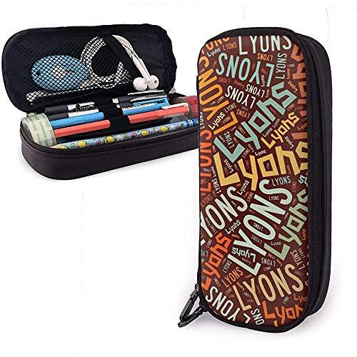 Lyons Amerikanischen Nachnamen Große Kapazität Leder Federmäppchen Stifthalter Große Aufbewahrungstasche Box Organizer Büro Make-Up Stift Tragbare Kosmetiktasche