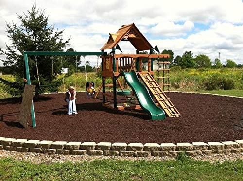 Playsafer Rubber Mulch Nuggets Protective Flooring for Playgrounds, Swing-Sets, Play Areas, and Landscaping (40 LBS - 1.55 CU. FT, Brown)