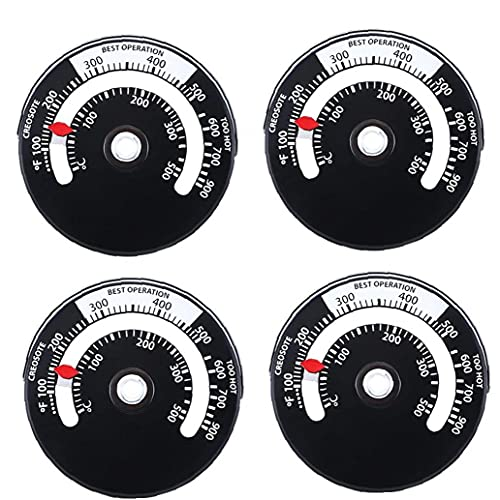 Termómetro de acero inoxidable Naisicatar Termómetro Horno Termómetro Magnet Adsorción Termómetro negro 4pcs