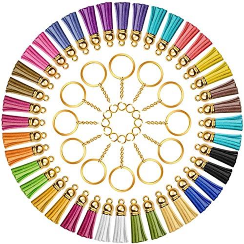 Yousiju 150 ganchos giratorios con llaveros y flecos son adecuados para llaveros, colgantes, accesorios de bricolaje, artesanías (color: A, tamaño: talla única)