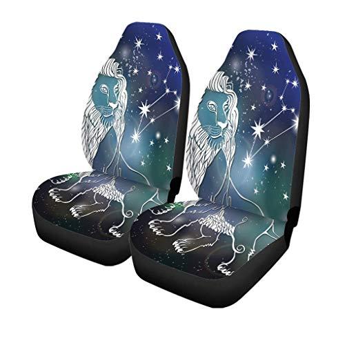 Little Yi Autositzbezüge Leo Sternzeichen Löwe Horoskop Sternbild Sterne Abstrakter Raum Universal Auto Front Seats Protector