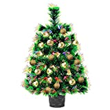 Fiber Optic Mini Christmas Tree with Lights 22inch Artificial Tabletop Pre-Lit Christmas Tree Baubles Desktop Xmas Tree with Ball for Home, Kitchen, Dining Decor(All in One Set)