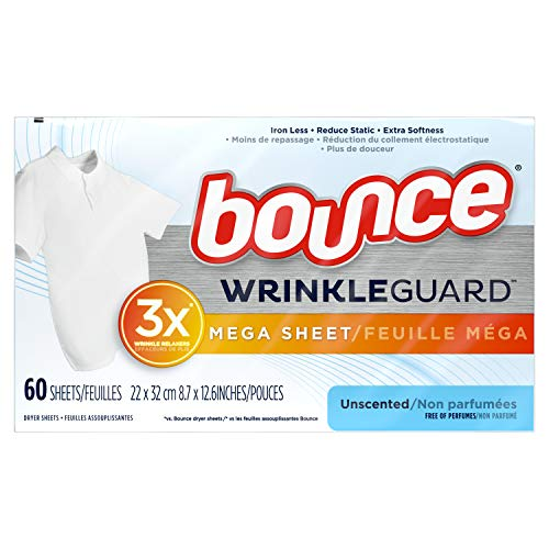 Bounce WrinkleGuard Mega Dryer Sheets, Fabric Softener and Wrinkle Releaser Sheets, Unscented, 120 Count (Pack of 2, 60 Count Each)
