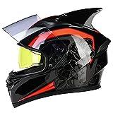 RMBDD Cascos de Motocicleta Bluetooth Casco Cara Completa Integrado con Bluetooth Casco de Motocicleta de Doble Visera Intercomunicador Mp3 Casco Aprobado por Dot/ECE (54~65CM)
