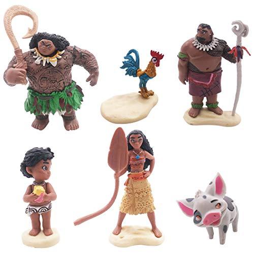 Cake Topper - YUESEN 6pcs Moana Mini Figuras Niños Mini Juguetes Baby Shower Fiesta de cumpleaños Pastel Decoración Suministros