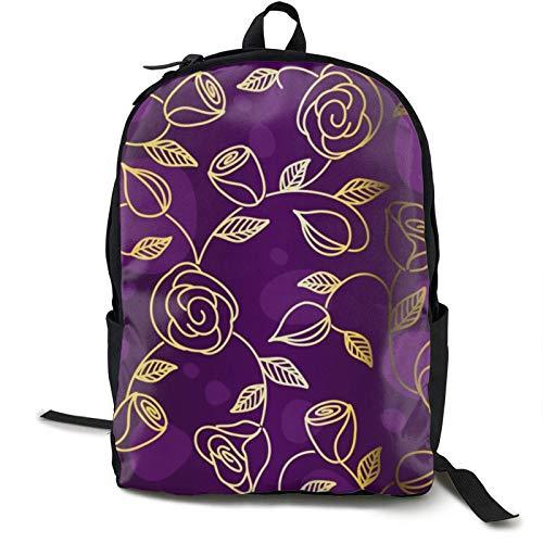 Mochila con diseño de juego, color negro, divertida, con diseño de flores, color dorado y rosa