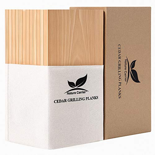 "Premium 12 Pack Cedar Grilling Planks with Larger Size: 6""x12""x0.4. Add Extra Flavor and Smoke - BBQ Aromatic Wood Cedar Planks for Grilling Salmon, Fish, Steak and Veggies(Gift Pack)."
