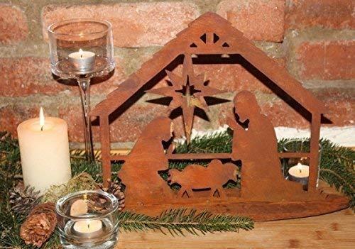 Rostikal | Edelrost Krippe Bethlehem, Weihnachtskrippe zum Stecken | 28 cm | Größe 2