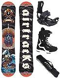 AIRTRACKS Snowboard Set/Board Mr.Yash Carbon Wide Flat Rocker 163 + Snowboard Fijaciones Master + Boots Strong 45 + SB Bag