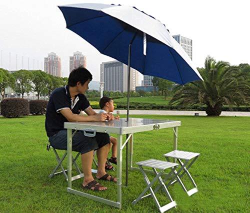Silla Camping 3-4 Personas, Plegable Aleación De Aluminio Portátil Al Aire Libre Vehículo Calle Mesa Silla-Mesas y sillas+1.8Paraguas de una Capa de arroz