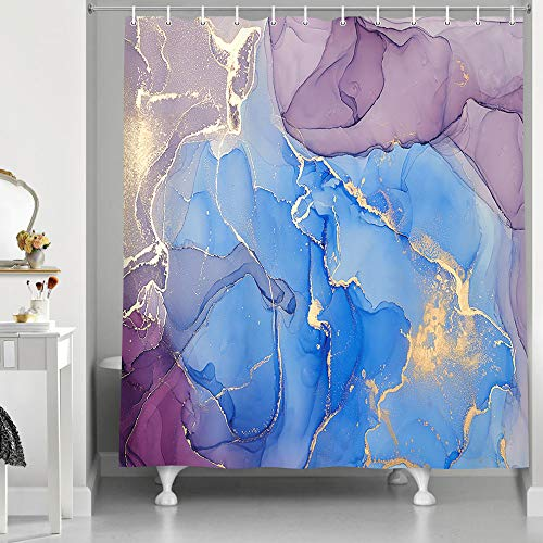 Marble Shower Curtain, Abstract Modern Contemporary Art Shower Curtain, Navy Blue Ombre Elegant Purple Golden Cracked Lines Marble Texture Fabric Bathroom Curtains Sets with 12 Hooks, 69X70in