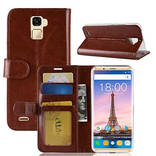 tinyue® Für Oukitel K5000 Hülle, Ultradünne PU-Ledertasche Flip Wallet Cover, R64 strukturierte Business Style Ledertasche, Brown