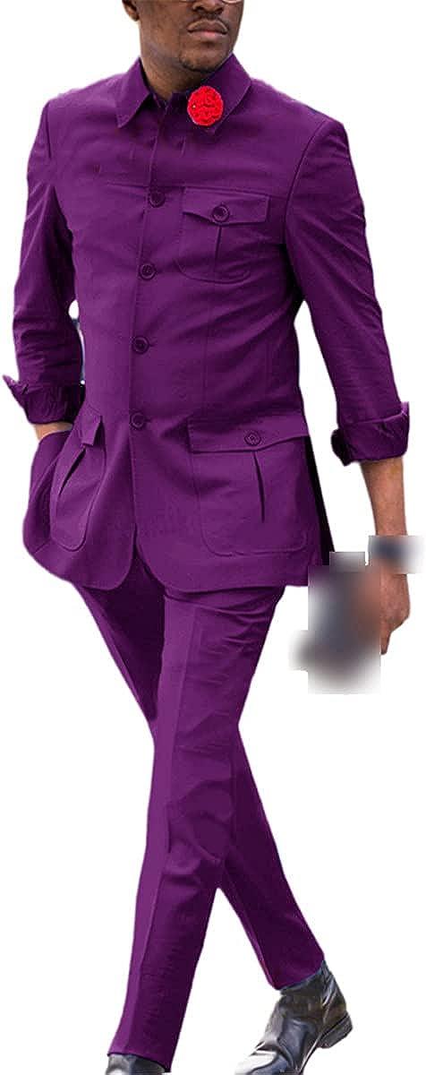 CACLSL Solid Color Men's Button Groom Business Casual Suit 2-Piece Suit Formal Gentleman Party Dress