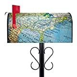 BANJADO US Mailbox | Amerikanischer Briefkasten 51x22x17cm | Letterbox Stahl schwarz | mit Motiv Globus | inklusive schwarzem Ständer