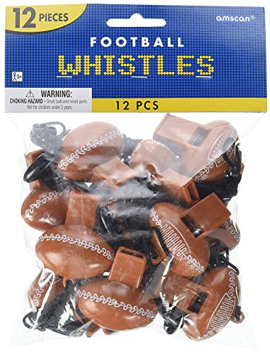 """Party Perfect Football Mini Whistle Favours, Plastic, 2"""" x 1"""" (Value Pack: 24 Count)"""