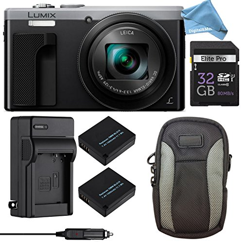 Panasonic LUMIX ZS60 4K Digital Camera ULTIMATE PRO BUNDLE (Silver) - Camera + 32GB SD Card + Replacement Battery and Charger + Professional Digital Camera Case + DigitalAndMore Lens Cleaning Cloth