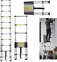 3.2m Telescopic Ladder Multi-Purpose Aluminum for Loft Home Capacity Max Load 150kg/330lb 11 Steps Wight 9.2kg