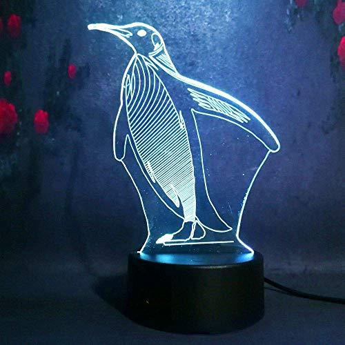Lámpara de mesa LED con diseño de pingüino de 7 colores, con forma de 3D, para niños, con mando a distancia