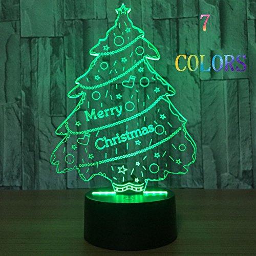 Iluminación visual luminosa 3D 7 cambio de color batería USB Power Touch/Touch Console Light bonito regalo decoración del hogar (árbol de Navidad)