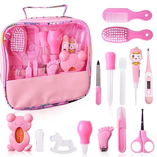 Set para Cuidado del Bebé Rosa 14 Unids Recién Nacido Bebé Cuidado Set con dos Peines Cortauñas Cepillos de Dedo para Bebés (Rosa)