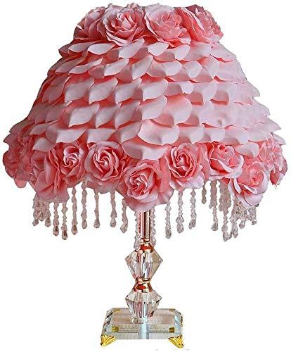 DJSMtd Lámpara de mesa europea de cristal, tejido a mano, rosas, de alta calidad, para cama, lámpara de mesilla de noche, luces decorativas, romántico, regalo rosa E27
