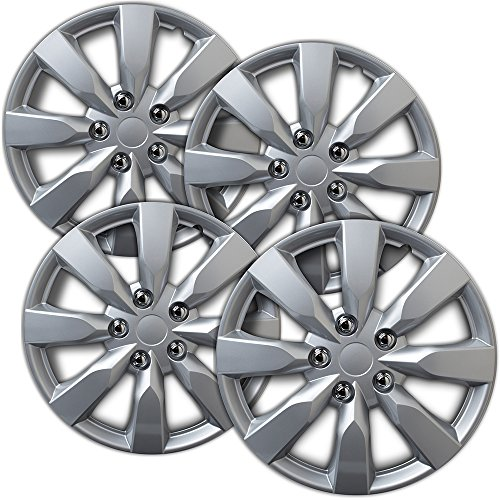 16 inch Hubcaps Best for 2011-2013 Kia Optima - (Set of 4) Wheel Covers 16in Hub Caps Silver Rim Cover - Car Accessories for 16 inch Wheels - Snap On Hubcap, Auto Tire Replacement Exterior Ca