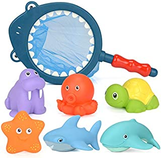 QHGC Baby Bathroom Toys, When in Warm Water Change Color and Have an Interactive Fishing net to Capture Marine Animals. Marine Animals 12 Months + (7 Pieces) …