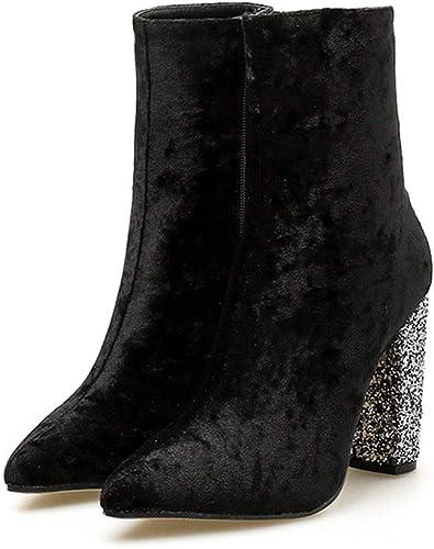 Limeinimukete botas de mujer con Cremallera Lateral de Terciopelo Grueso y Brillante Terciopelo Brillante botas