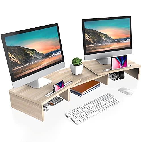 FITUEYES Dual Monitor Ständer Holz Drehbar Länge Verstellbar mit Halteschlitz für Smartphones Tablet PC Laptop Computer Bildschirm Riser 79-111,2x27x10,6cm DT111106WO