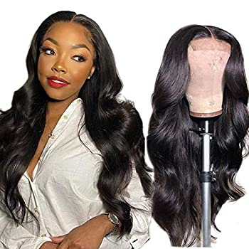 ANNELBEL Glueless Lace Front Wigs Human Hair Body Wave Wig 4x4 Lace Closure Wig Remy Human Hair Wig 150% Density Human Hair Wigs for Black Women Natural Color  20inch Body Wave Wigs