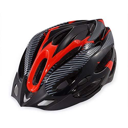 N-B Casco de Montar en Bicicleta Unisex Rojo Negro Casco de tamaño Libre con Perilla Ajustable de moldeo no Integrado Universal