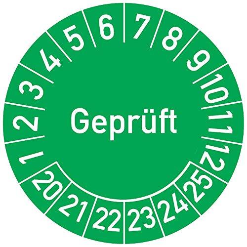 Geprüft Prüfplakette, 100 Stück, in verschiedenen Farben und Größen, Prüfetikett Prüfsiegel Plakette (30 mm Ø, Grün)