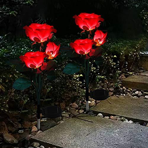 2 X Außen Solarleuchte Garten Farbwechsel LED Rose Lichter Edelstahl Stecker Solarlampe Wasserdicht für Gartenterrasse Hinterhof Pathway Einfahrt Dekoration (Rot)