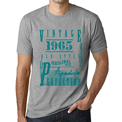 One in the City Hombre Camiseta Vintage T-Shirt Aged to Perfection 1965 Cumpleaños de 56 años Gris Moteado