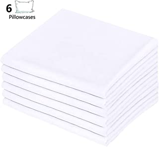 LEISUREWEEK Premium White Pillowcases 6 Pack, Standard Queen Size, Soft Brushed 1800 Thread Count Microfiber, Allergies Free, Wrinkle Resistant, Tailoring Iron, 0.5 Dozen Bulk Pillowcases Set