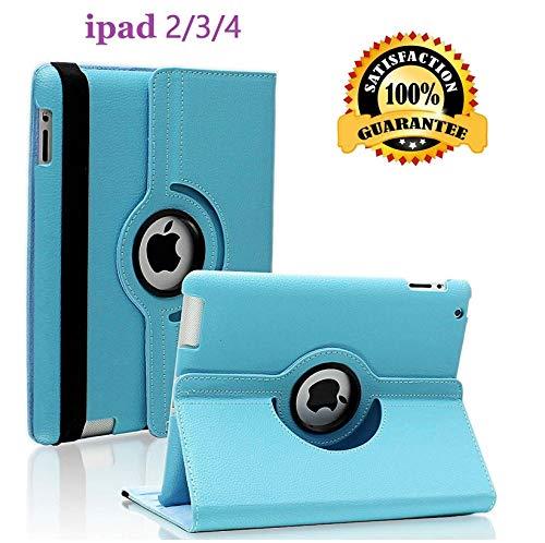 Newraturner iPad 2/3/4 Case - 360 Degree Rotating Stand Smart Case Protective Cover with Auto Wake Up/Sleep Feature for Apple iPad 4, iPad 3 & iPad 2 (Sky Blue)