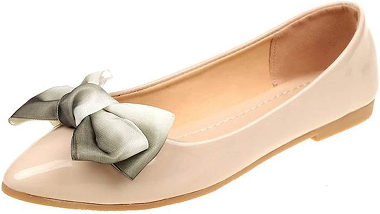 Women Flats shoes Bowknot Pointed Toe Patent Leather Soft Sole Dress Flats shoes