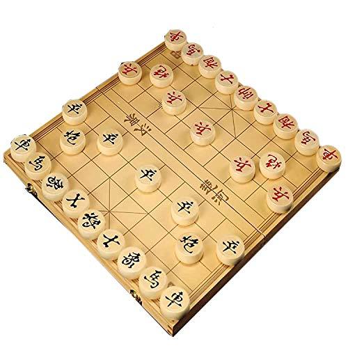 FunnyGoo Caja de Madera Beechwood Xiangqi Juego de ajedrez Chino con Caja Plegable Tablero de ajedrez 象棋, Caja de 27x15x4cm con ajedrez de 2.8cm de diámetro