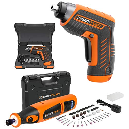 ENERTWIST Cordless Electric 4V Rechargeable Screwdriver and 8V Rotary Tool Combo Kit