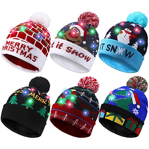 6 Piezas Gorro de Suéter de Navidad LED Gorro de Punto de Navidad de Luz Gorro de Nieve de Invierno LED con 6 LEDs Coloridos para Fiesta Navidad