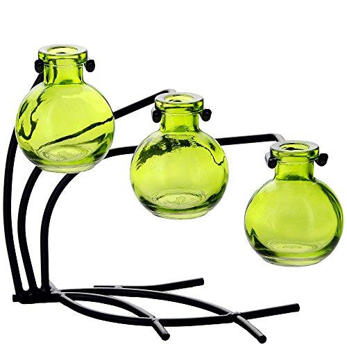 """Couronne Company M504-200-01 Casablanca Three Recycled Glass Vases & Metal Stand, 7 1/2"""", Lime, 1 Piece"""